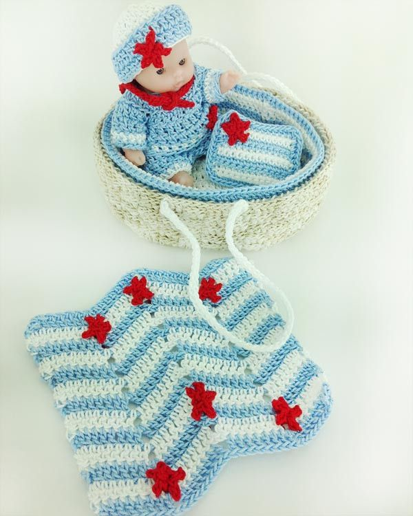 Knitting Pattern For Dolls Moses Basket : 1000+ images about Doll Clothes Crochet Patterns on Pinterest