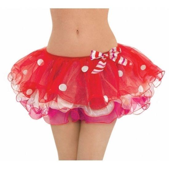 Rode Kerst tutu voor dames. Rode tule rokje met witte stippen. One size, M/L. Materiaal: 100% polyester.