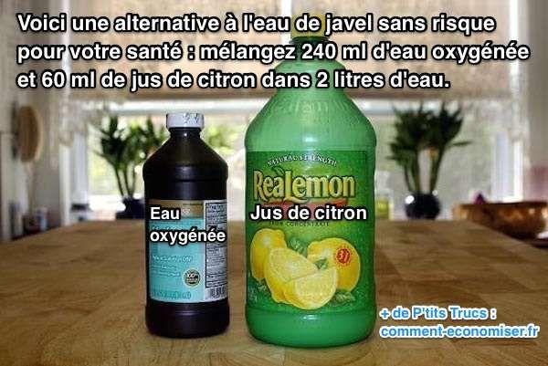Enfin une alternative à l'eau de Javel sans risque pour votre santé :-) Vous pouvez utiliser ce produit nettoyant fait maison partout dans la maison. Aussi bien dans la cuisine, que dans la salle de bains. Et vous pouvez aussi utiliser ce mélange pour blanchir le linge dans votre machine à laver.  Découvrez l'astuce ici : http://www.comment-economiser.fr/alternative-naturelle-eau-de-javel.html?utm_content=buffer34662&utm_medium=social&utm_source=pinterest.com&utm_campaign=buffer