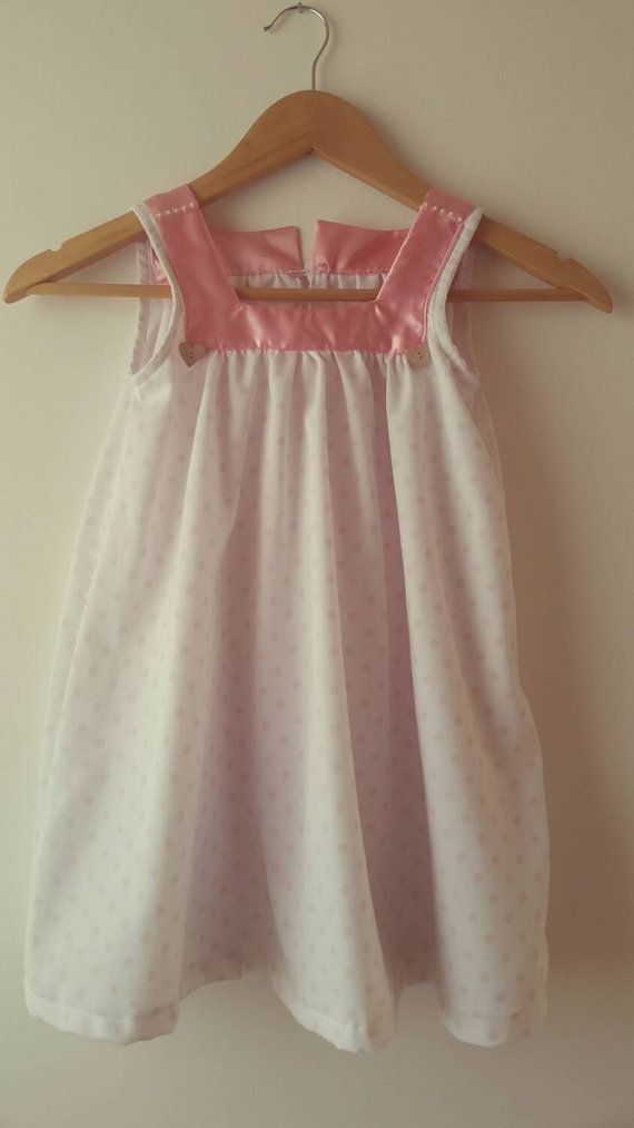 Toddler Dress   100% Cotton Piquet White and Pink di LaDolceAria