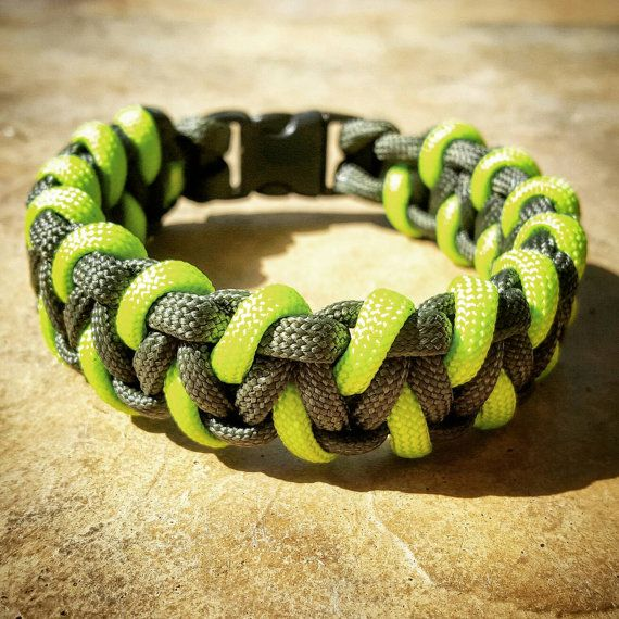 OD Green & Neon Green Paracord Bracelet, Hunting Fashion, Fathers Day Gift, Mens Bracelet, Every Day Carry, Wanderlust Accessories, EDC
