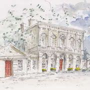 Provost's House Trinity College, Pen and Watercolour, 30 X 21 cms by Kildare/Sligo artist, Raymund Walsh. From his recently published New Irish Art gallery.