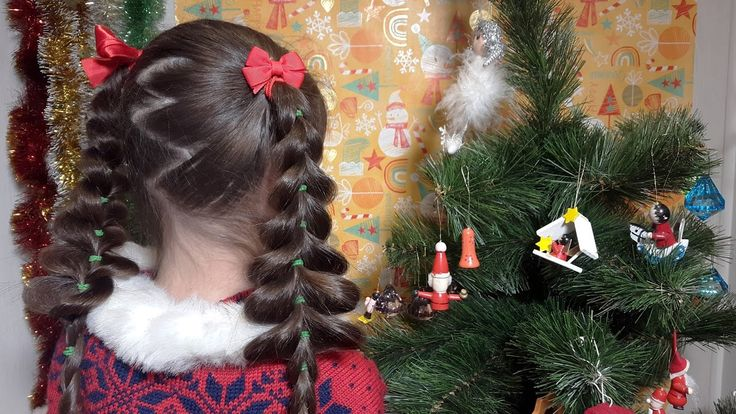 "GoHair! Волосы вперед! Новогодняя прическа ""Елки"".   Объемные французские косы без плетения, на резинках. // Pull-through braid. https://www.instagram.com/gohairfun/ https://www.youtube.com/watch?v=6hNnqaHevWg"
