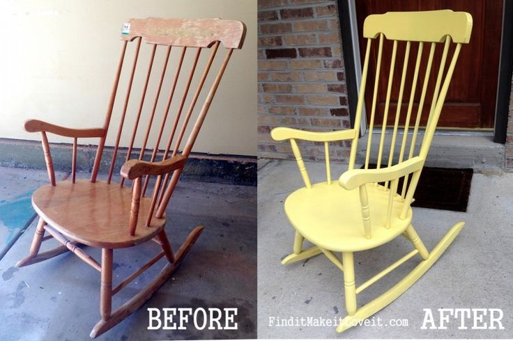 rocking chair re-do. An easy thrift store makeover who doesn't love a pretty yellow rocking chair on their front porch? A simple spray paint project. Transformation Tuesday!
