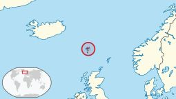 Location of the Faroe Islands (circled) in Northern Europe
