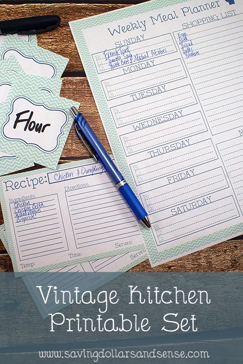 Vintage Free Vintage Kitchen Planner helps you to keep everything organized in the kitchen The menu