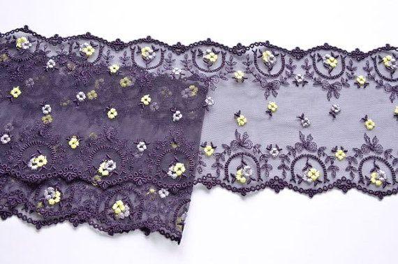 Purple purpur gelb Lace Trim, zierliche dunkel lila Spitze, Puppen Kleid, violett Dessous Mädchen Urlaub Kleid Spitze