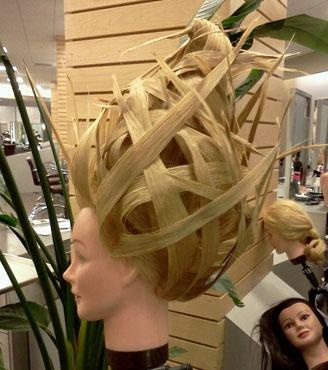 Not on-trend, but a very creative take on fantasy hair by students…