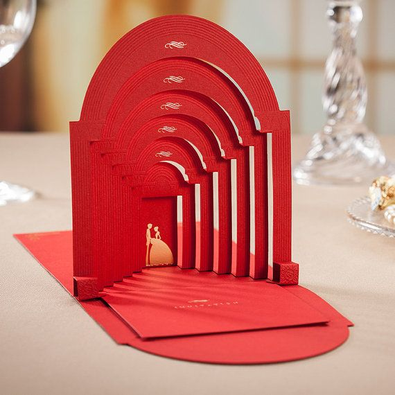 3D Red Vintage Wedding Invitation Beautiful by WishmadeCards