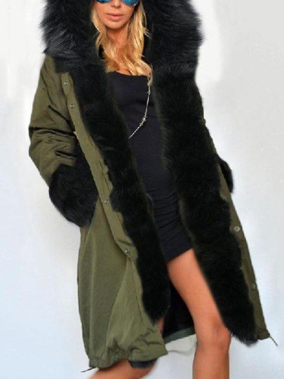 Damen Dicker Wollmantel Parka Mit Fell