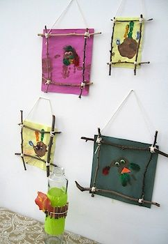 Twig frames for children's art work