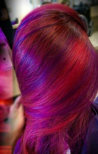 Red pink purple hair