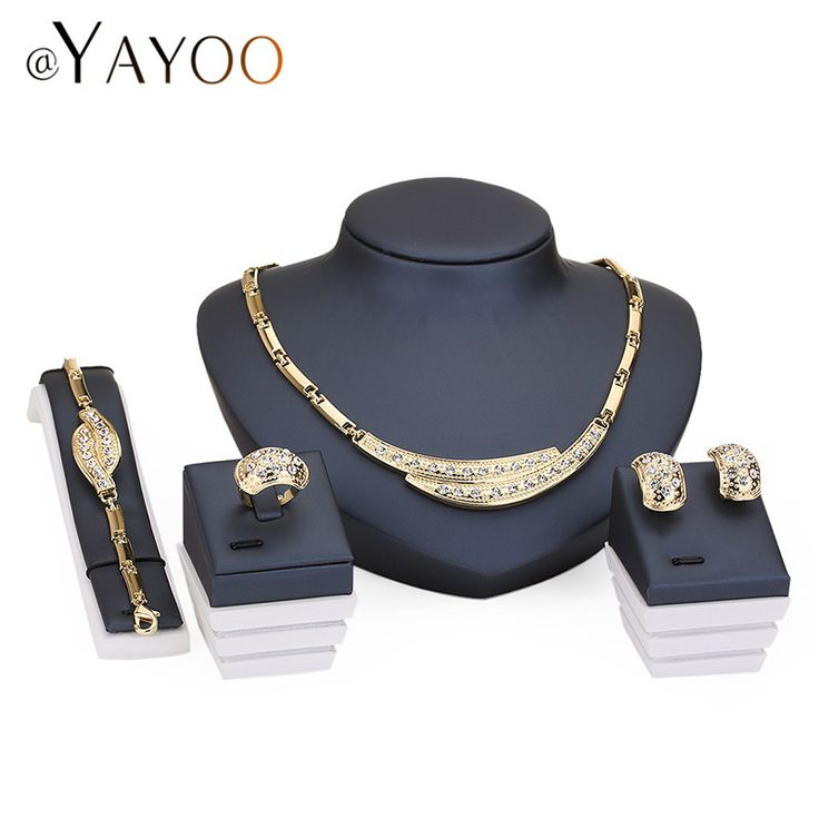 Wedding Necklace For Women African Beads Imitation Crystal Jewelry Sets Pendant Party Earrings Bracelets Fine Dress Accessories