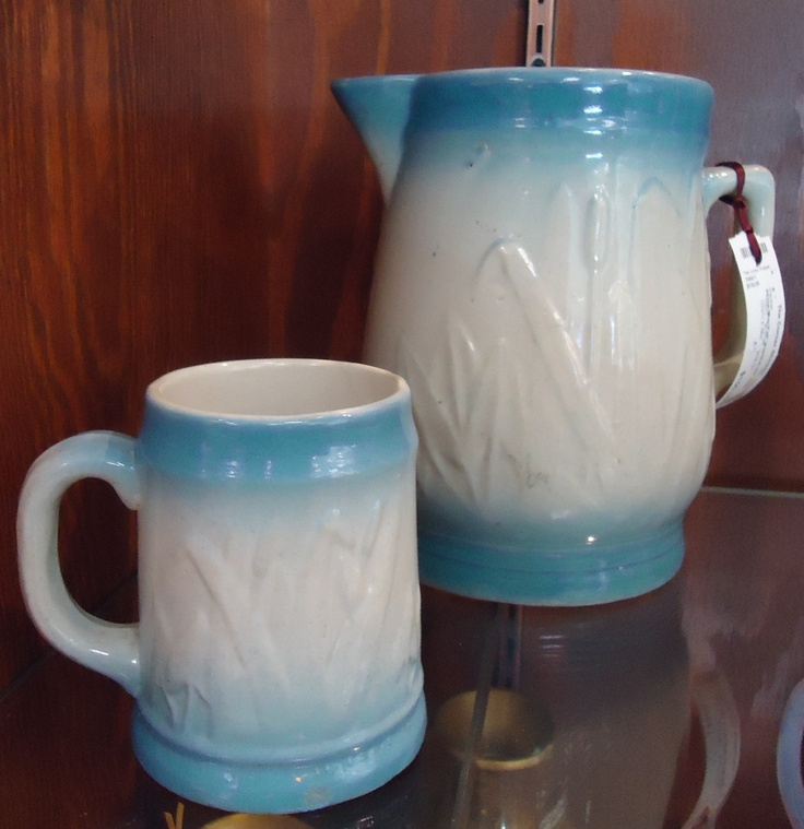 Antique Blue and White Cattails Pitcher and Mug.  Check them out at The Corner Shoppe, 27 Calendar Ave, LaGrange, IL 708-579-2425