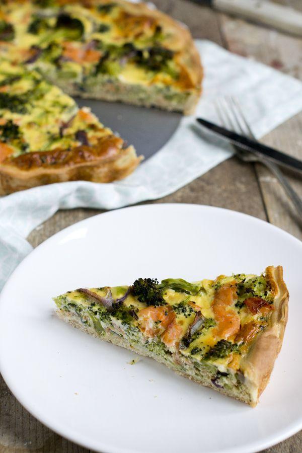 Hartige taart broccoli en zalm