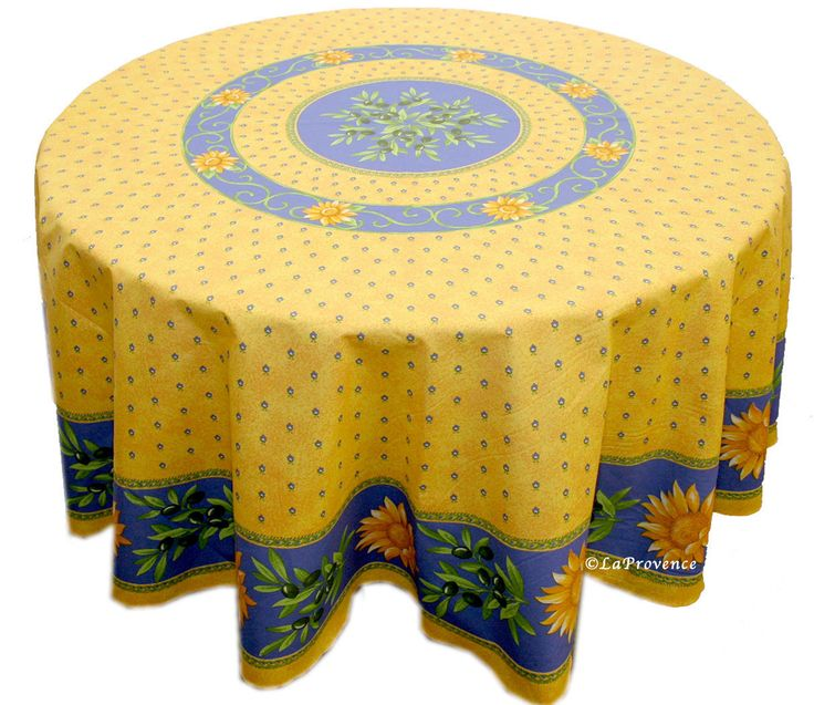 "70"" Round Provence Tablecloth:  Sunflower Blue"