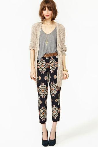 cropped tribal pants