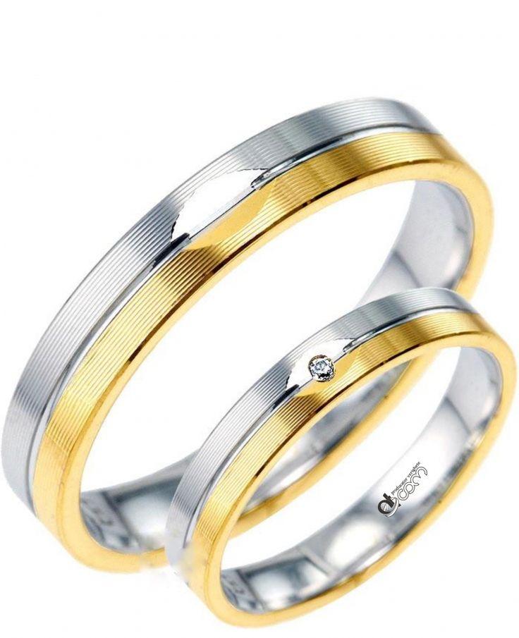 DIAMANTUL ESTE GRATUIT !!   Verighete ATCOM Lux AMORE aur alb cu galben