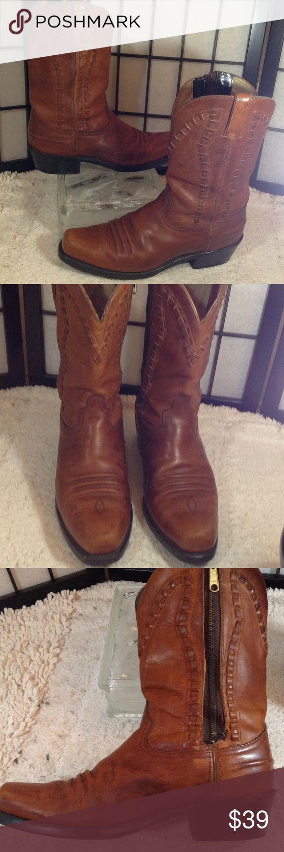 """Men's Durango leather boots Durango mottled dark tan distressed leather cowboy boots; 2"""" heel; 10"""" shaft; size 10.5EE extra wide; some scuffing; zipper has been replaced; see pictures; still great looking boots Durango Shoes Cowboy & Western Boots"""