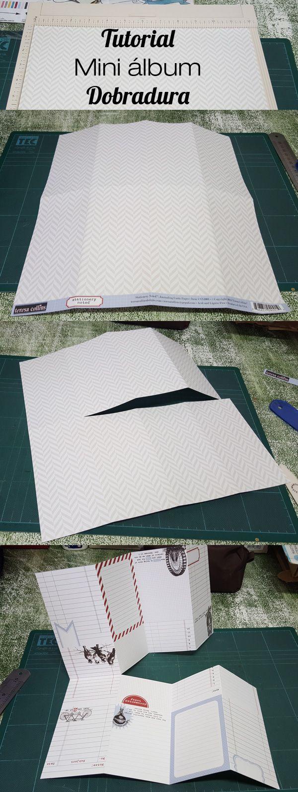 Tutorial de mini álbum dobradura de scrapbook. Apenas um papel para o miolo e para a capa. Decore como desejar. Chevron e fitas.