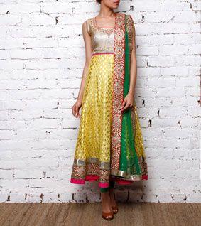 Yellow Chanderi Anarkali Suit