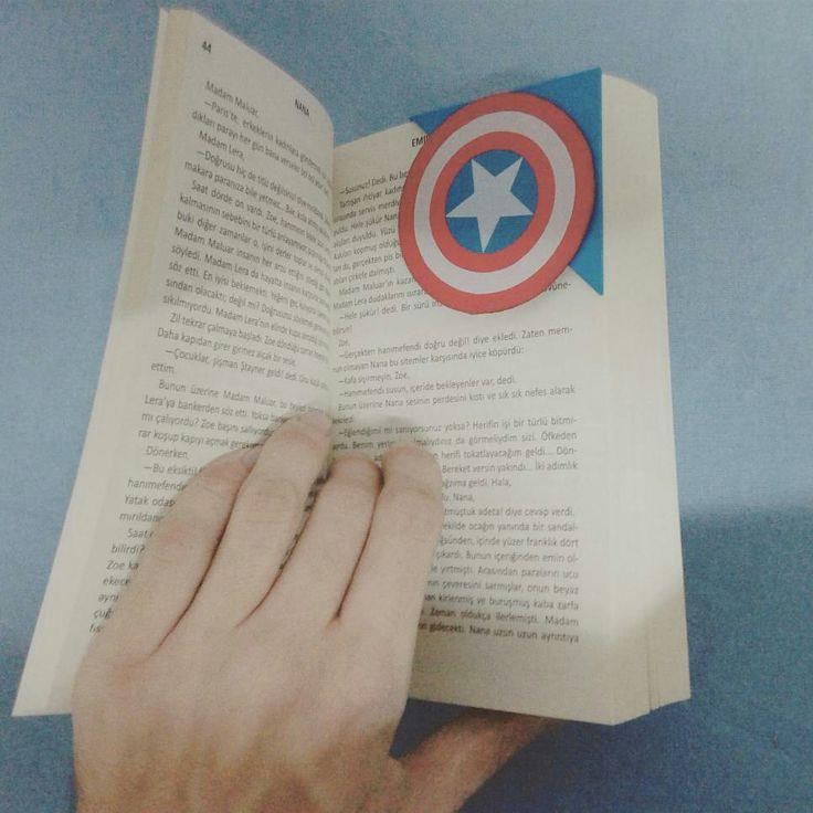 Marvel Avengers Captain America Bookmark DIY Kendin Yap Designer Me ... #captainamerica #bookmark #DIY #kendinyap #Designer #me