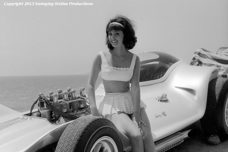 "Here I'm pictured during the filming of Bikini Beach with a Dean Jeffries creation known as the Mantaray.  Built in 1964, it was featured in the film and used as the tow vehicle by ""Potato Bug"" at the drag strip.  The car still exists and is shown at custom car shows around the United States.  It was built on a Maserati chassis and used a Cobra engine.  Click on the picture and you'll see the ""COBRA"" valve covers. (Thank you, Mike Brown for your research.)"