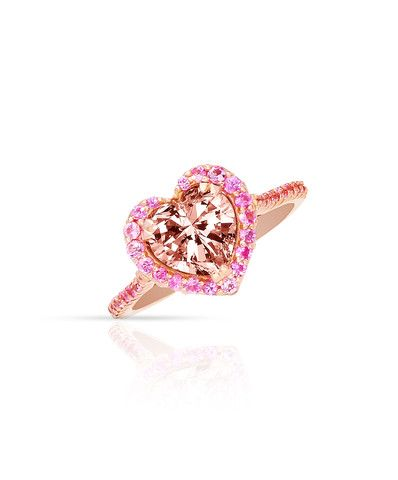 Perfectly designed Holly Heart Ring with Morganite centre stone, pink sapphires and rose gold – Jenna Clifford