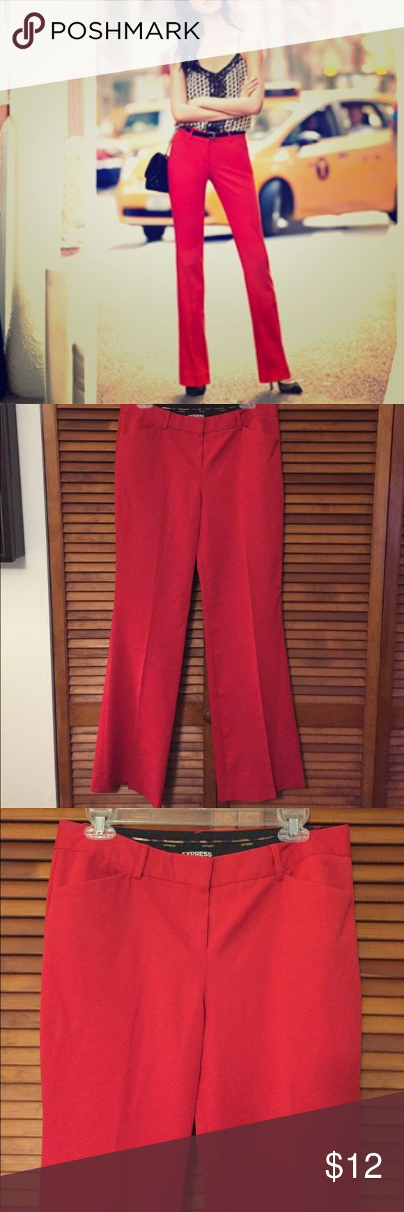 """Express Editor Red Slacks Size 8R This pair of slacks is from Express. They are the Editor fit, but the leg is wider than the normal """"barely boot"""" fit. They are great for work or going out. Size 8R. I took a picture because the hem at the bottom fell out (I find this happens with all Express pants) where I sewed it back together. Put these with a pair of black heels and you will spice up the office! Pet free, smoke free home. Express Pants Trousers"""