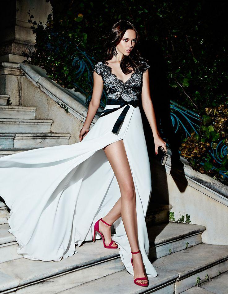 elegant evening long semi lace dress, chic style