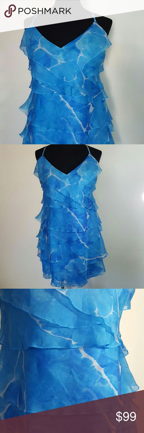 Ralph Lauren Marble Petal Pleated Cocktail Dress Size 12 Ralph Lauren  Marble blue petal pleated dress Side zipper  Spaghetti straps  V- neckline  Good condition - please note stain in photo 7 Ralph Lauren Dresses