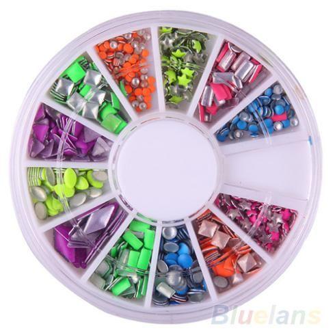 6 Colors nail art stickers nail sticker Neon Rivet Square Metal Stud Rhinestone Fashion Nail Art DIY Decoration 06GR