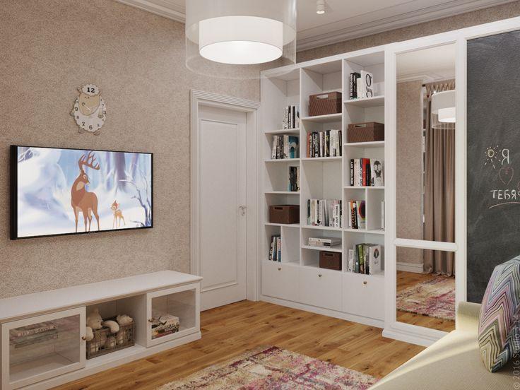 Шкаф для одежды и книг соседствует с диваном-кроватью.
