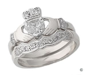 Diamond Claddagh Engagement Ring with wedding band
