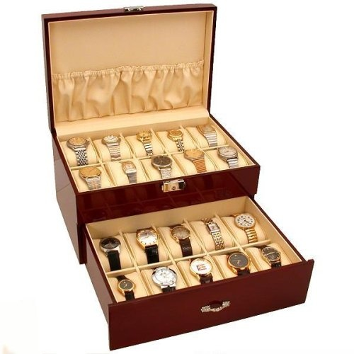 """20 Watch Display Case Cherrywood Color Storage Box New. This is a new rosewood finish watch display case with lockable top. This beautifully displays watches and is great for counter or showcase use. It has a lockable lid and holds 20 watches. The inside is lined with tan velvet. It measures approximately 11 5/8"""" x 8"""" x 5 1/2"""" (295 x 200 x 140 mm)."""