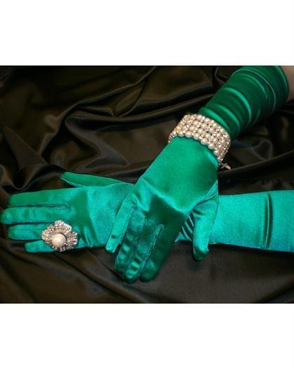 Satin Green Gloves at PromDressShop.com