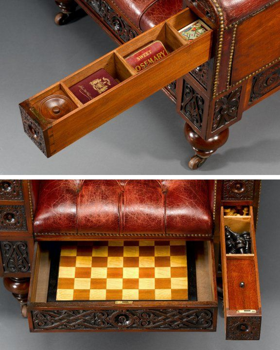 The Gentleman's Surprise Chair (Circa 1880) - would be awesome for a game room, lounge, or library