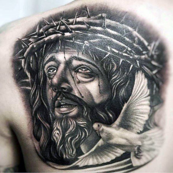 Nice Dove Jesus Face Tattoo Idea On Upper Back Ideas And Designs Tatuajes Guy De Jesus