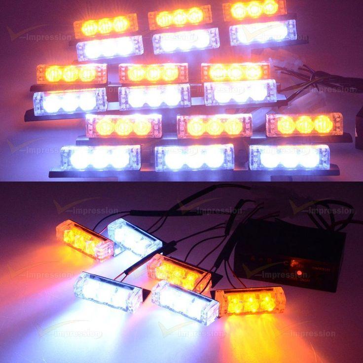 Amber White 72 LED Grille Windshield Bumper Car Warning Flash Strobe Light Kit #Vimpression