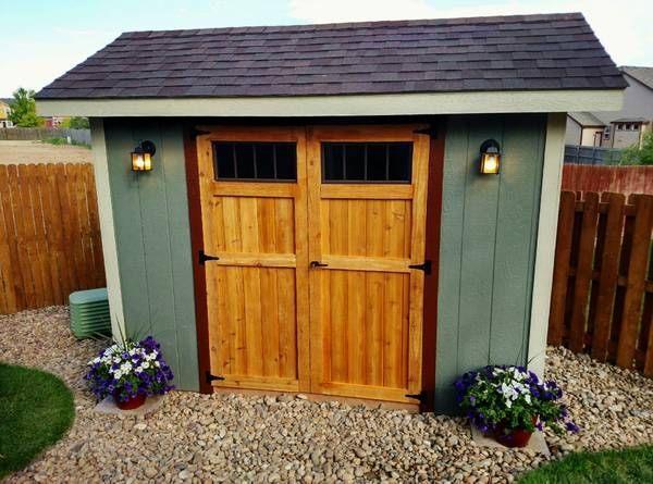 8x10 Metal Shed >> What a cute shed for the backyard! I love the landscaping ...