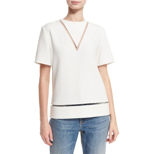 Alexander Wang Sheer-Inset Short-Sleeve Boxy Blouse (27,430 PHP) ❤ liked on Polyvore featuring tops, blouses, bone, sheer blouse, white blouse, boxy blouse, white short sleeve top and short sleeve tops