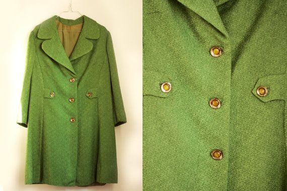 Cappotto sartoriale vintage verde anni 60 misura media, cappotto donna retro con bottoni gioiello