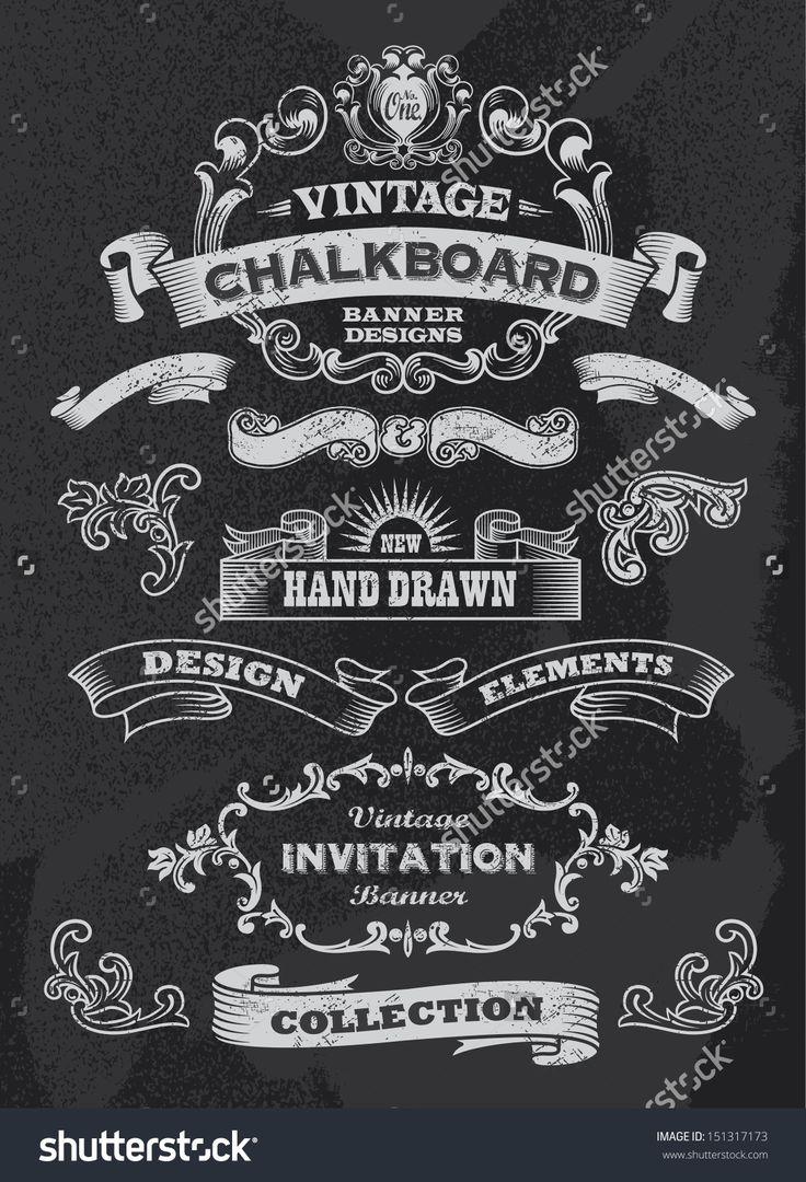 Hand Drawn Blackboard Banner And Ribbon Vector Illustration With Texture Added. Black Chalkboard Background. Label And Artwork Decoration. Set Of Calligraphic Elements, Frames, Vintage Labels. - 151317173 : Shutterstock
