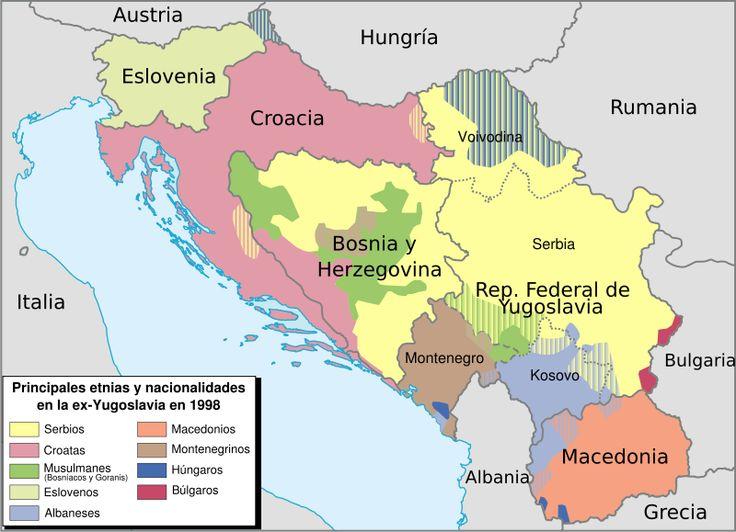 yugoslavia | Mapa étnico de la antigua Yugoslavia establecido en 1998.
