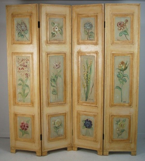 Vintage four folding hinged dressing screen room for Painted screens room dividers