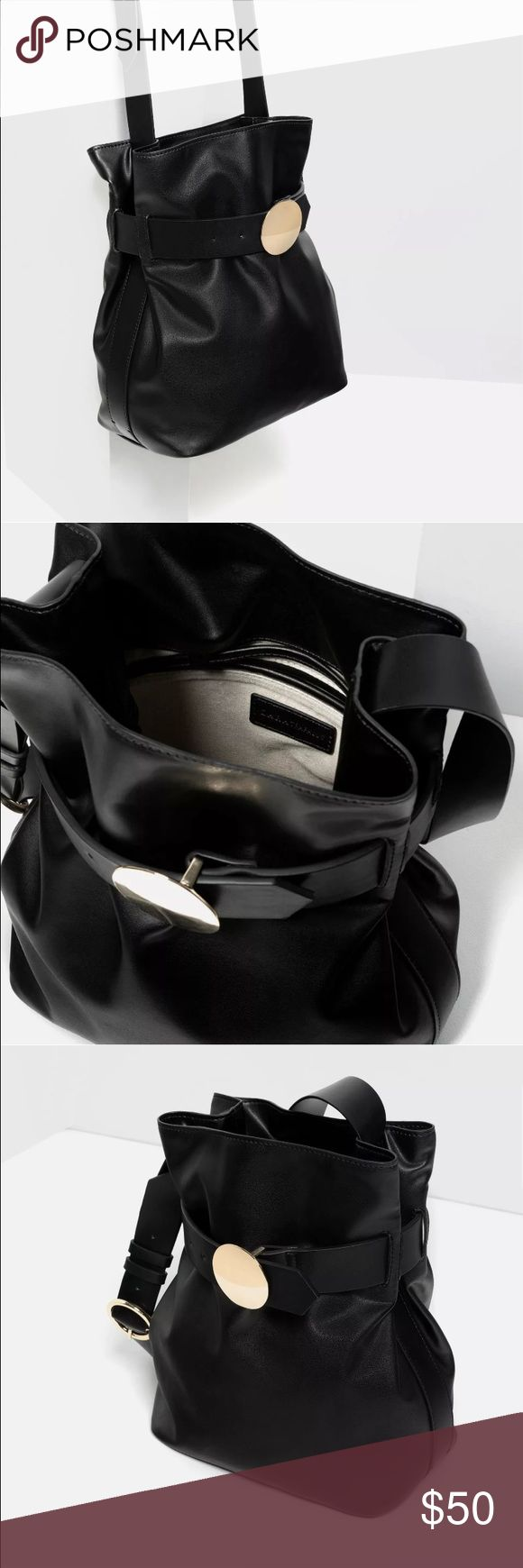 Zara bag ZARA brooch clasp bucket bag  - Brand New with Tags  black with golden brooch fully lined, with inner pocket adjustable strap  will be delivered with zara white dust cover bag  size: height 31cm / width 27cm / depth 17cm   sold out in stores and online Zara Bags