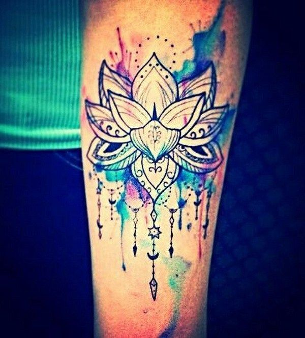 Love This Watercolor Hippie Indie Lotus Tattoo.