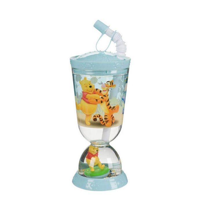 Winnie the Pooh Goblet + straw with dome Disney  Thought for children, adapted to their needs, this joyful Winnie the Pooh goblet will delight your child. It includes a Winnie the Pooh figurine in its base, a screwed lid and a flexible straw with a stopper to avoid overthrow. This goblet is a real asset guaranteeing smile and serenity for parents.  Capacity : 275 ml  or  9 oz  http://trend-on-line.com/brand/disney/gobelet-paille-winnie-l-ourson-avec-dome