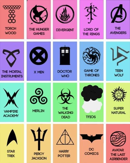 Fandom symbols. THG, TLOTR, the advengers , doctor who, the walking dead, I guess Percy Jackson but I have not read the books (don't judge ) XD