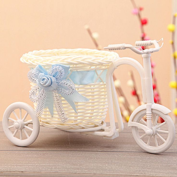 Rattan Tricycle Bike Basket for Home Flower Vase Storage Decoration ...